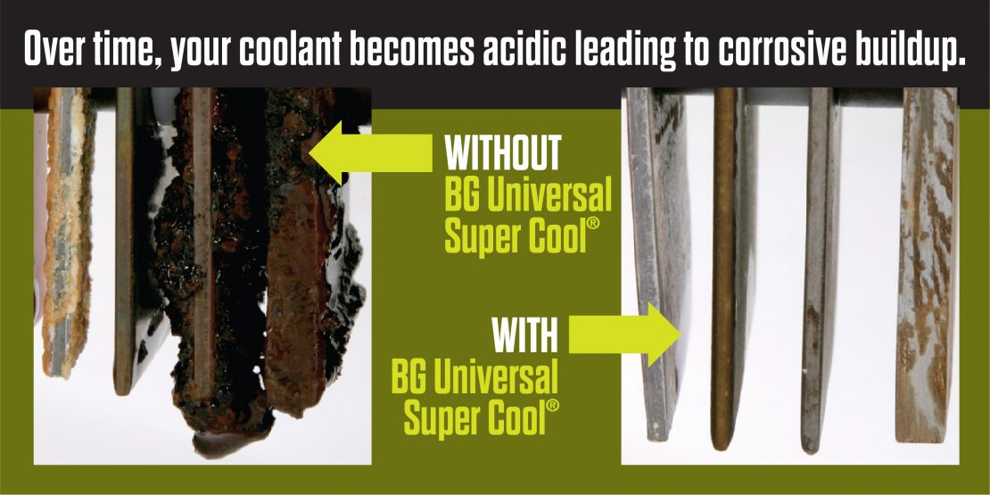 Over time, your coolant becomes acidic leading to corrosive buildup