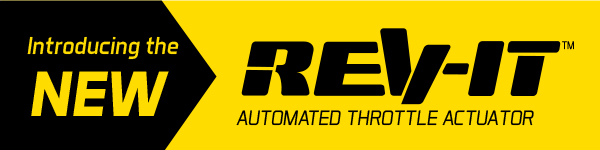 Black and yellow graphic with text saying Introducing the new Rev-It™ automated throttle actuator.